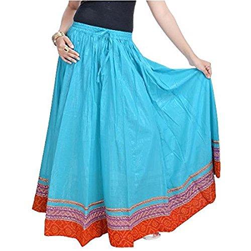 Light Women Indian SMSKT515 Export Handicrfats Skirt Sea Green Cotton Blue Long TwpUxP