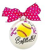 Best UNIQUE Friend Softball Bows - VINTAGE HANDPAINTED GLASS CHRISTMAS BULB ORNAMENT BALL SPORTS Review
