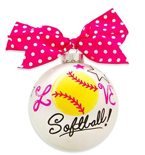 VINTAGE HANDPAINTED GLASS CHRISTMAS BULB ORNAMENT BALL SPORTS SOFTBALL 4 Inch Glass Basketball Ornament