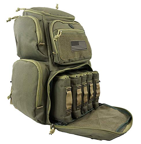 Tactical Backpack Military Gear Carries 5 Handguns Multi-Functional Ammo Pouches And Magazine Pockets for Pistols Thick Heavy Duty Materials Perfect for Camping, Hiking, Trekking Unisex Gun Range Bag