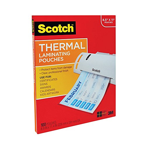 Scotch Thermal Laminating Pouches, 8.9 x 11.4-Inches, 3 mil thick, 100-Pack (Laminating Sheets)