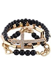 Black with Goldtone 4 Piece Bundle of Iced Out Cross, Link, & Bar Chain Beaded Stretch Bracelet