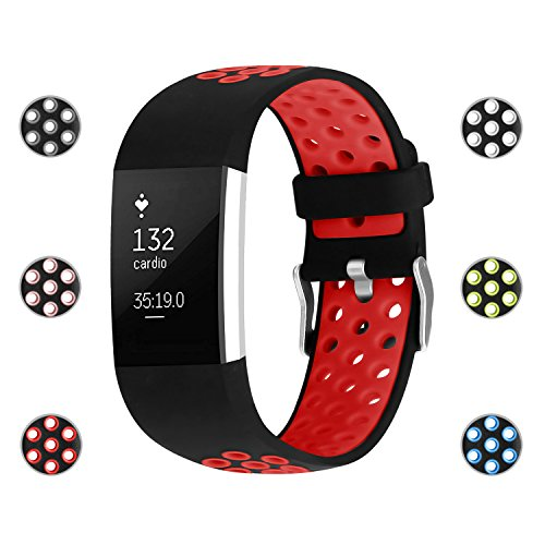 iGK Silicone Replacement Bands Compatible for Fitbit Charge 2, Adjustable Breathable Sport Strap Smartwatch Fitness Wristband with Air Holes Red Small