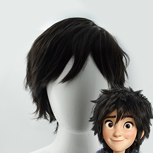 iLToy Men's Short Black Wig & Wig Cap - Big Hero 6 Hiro Hamada Cosplay Costume Wig (Male Costume Halloween)