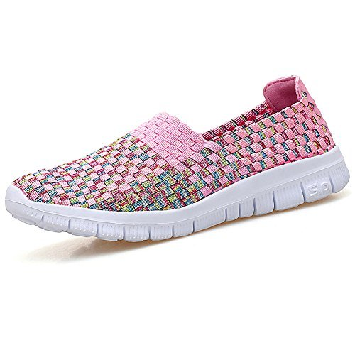 Konfor Women Multicolor Elasticized Fabric Casual Plaid Weave Flats Slip on Sneakers Walking Shoes (Pink US8) ()
