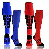 Compression Socks for Men &Women - Unisex Grid Sport Compression Socks (15-20mmhg) for Nursing/Travel/Running/Medical/Athletic Sports/Edema Medical Socks(Red/Blue, L/XL)