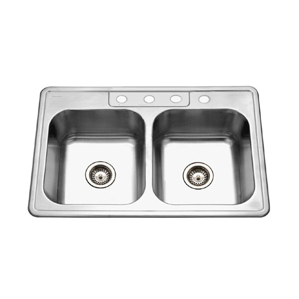 Houzer 3322 8bs4 1 glowtone series top mount 4 hole 5050 double houzer 3322 8bs4 1 glowtone series top mount 4 hole 5050 double bowl kitchen sink with 8 deep stainless steel double bowl sinks amazon workwithnaturefo