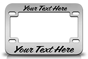 custom personalized steel chrome motorcycle license plate frame wcoffee font in black