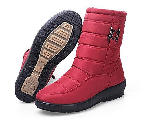 Aisun Kvinna Varm Vattentät Glidskydds Rund Tå Sido Dragkedja Låga Klackar Höga Toppar Ankel Snö Tossor Shoes Red