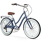sixthreezero EVRYjourney Women's 26-Inch 7-Speed Step-Through Hybrid Cruiser Bicycle, Navy