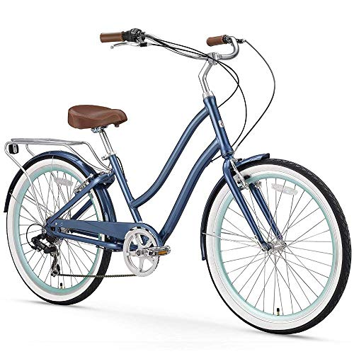 (sixthreezero EVRYjourney Women's 7-Speed Step-Through Hybrid Cruiser Bicycle, Navy w/Brown Seat/Grips, 26