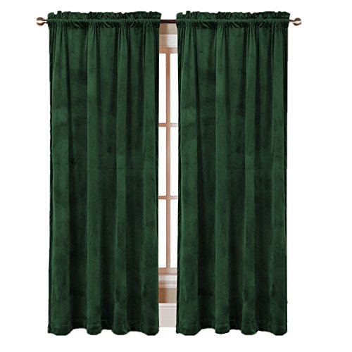 Comforhome Solid soft velvet window curtain Rod Pocket Drapes Dark Green 52