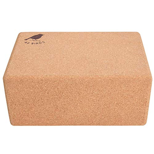 42 Birds 100% Recycled Cork Yoga Block, Sustainable, Eco-Friendly, Non-Slip, Handstand Blocks, Non-Toxic, All-Natural, Premium Cork, Self-Cleaning, Anti-Microbial, 9