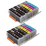 PGI-250XL CLI-251XL Ink Cartridges 12 Pack (2 Set + 2 Black, No Gray), Sotek High Yield Ink Combo Pack for Canon Pixma MX922 MX920 MG5520 MG5420 MG6320 MG7120 MX722 iP7220 iP8720 iX6820 Printers