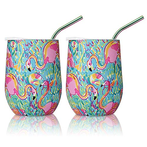 Insulated Wine Tumbler with Lid and Straws, 2 Pack 12 oz Stainless Steel Insulated Wine Glass,Stemless Wine Tumbler Unbreakable for Keeping Wine, Coffee, Drinks, Champagne, Cocktails (Flamingo)