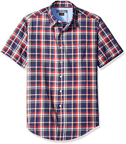 U.S. Polo Assn. Mens Short Sleeve Classic Fit Plaid Poplin Sport Shirt