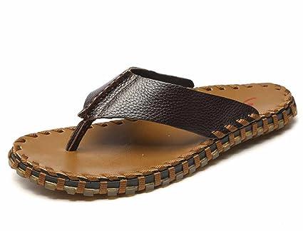 420f1f5b9e340d GLSHI Men And Women Outdoor Clip Toe Flip Flops Summer Slippers Light Flat  Sandals Handmade Leather