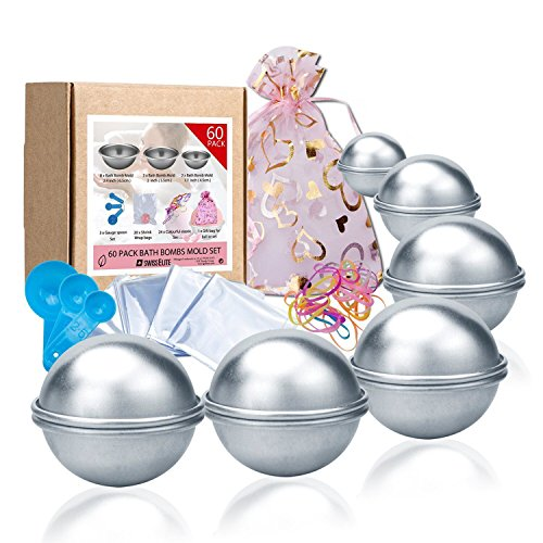 Bath Bomb Mold Set 60 Pcs - 12 Pieces 3 size DIY Mould, Spoons,Warp bags, gift bags and rubber band set for Crafting your own Fizzles by (Near Bath)