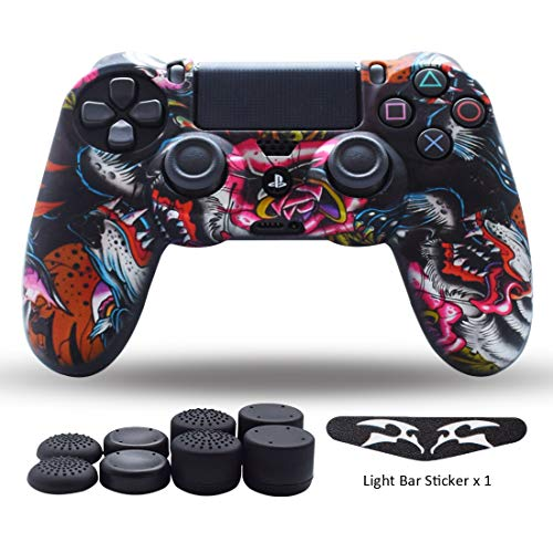 (PS4 Controller Skin,Silicone Grips for Playstation 4 PS4/Slim/Pro Controller Anti Slip Cover Case Protector for Dual Shock 4 Controller - One Light Bar Sticker - 8pcs Pro Thumb Grips-Wing Grey )