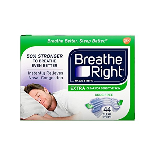 Breathe Rite Strips - Breathe Right Extra Clear Drug-Free Nasal Strips for Nasal Congestion Relief, 44 count