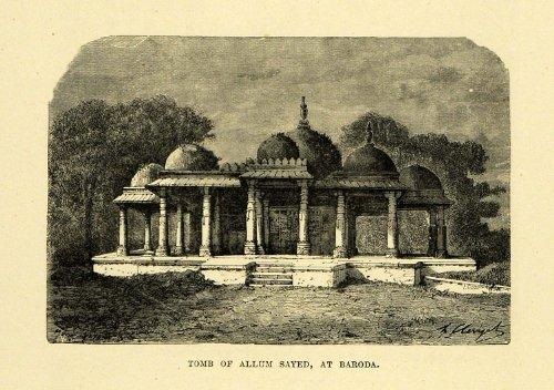 1878 Wood Engraving Tomb Allum Sayed Baroda Vadodara Burial Site India Horse - Original Wood - Site In India