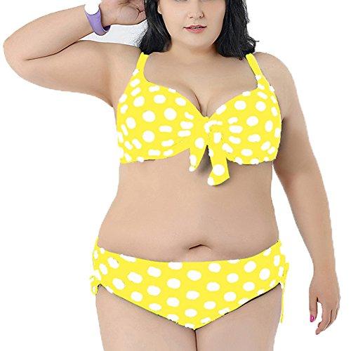 Primavera de fiebre de la mujer Plus tamaño diseño de lunares Bikini de dos piezas de baño Yellow White