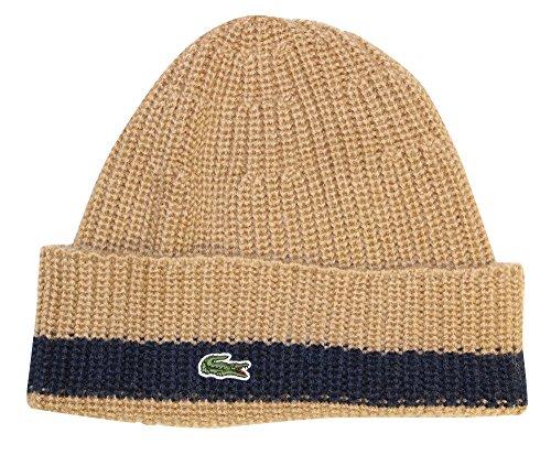 Lacoste Men's Classic Pure Wool Cardigan Rib Knit Cap, Renaissance Brown/Navy, OS