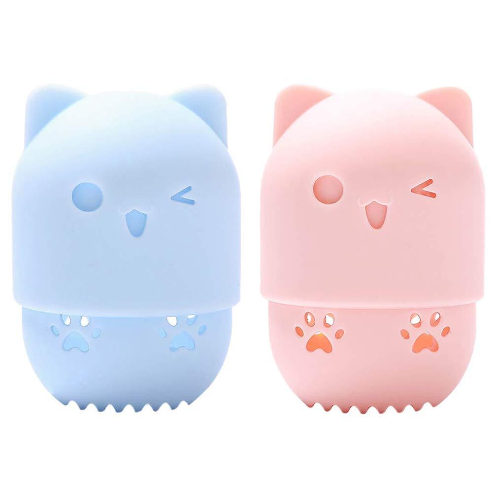 2 PCS Beauty Sponge Blender Container, TEOYALL Makeup Blender Sponge Holder Washable Reusable Protective Carrying Case (Pink/Blue)