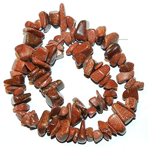 - Brown Goldstone Copper Sparkle Large 8mm - 16mm Chip Gemstone Beads 15