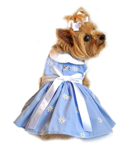 Amazon.com : Soft Blue Denim Daisy Dog Harness Dress (X-Small) : Pet