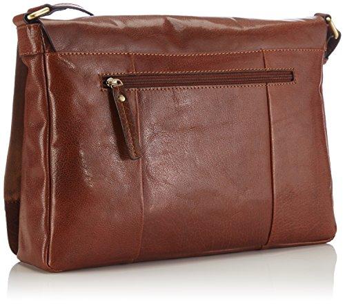 GERRY WEBER Lugano Flap Bag L - Bolso de hombro de cuero mujer marrón - Braun (cognac 703)