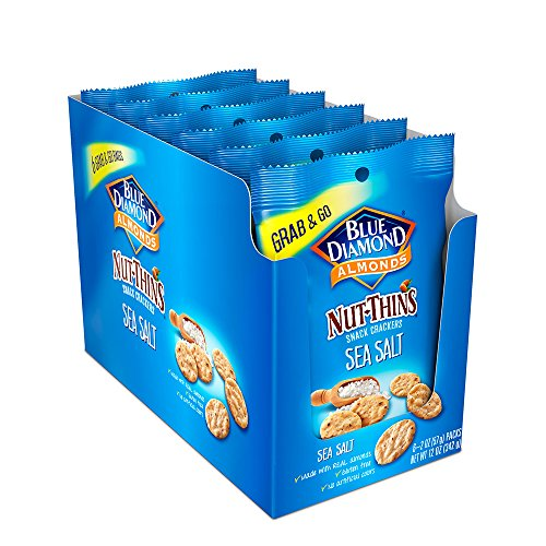Blue Diamond Gluten Free 2 Ounce Single Serve Almond Nut Thins, Hint Of Sea Salt, 6 Count
