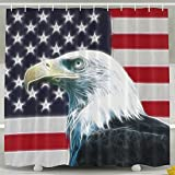 BINGO FLAG Funny Fabric Shower Curtain Eagle USA Flag Waterproof Bathroom Decor With Hooks 60 X 72 Inch