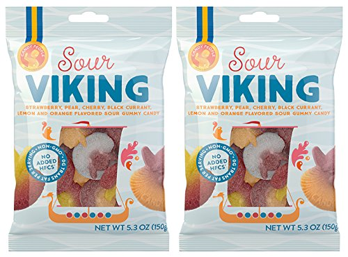 Candy People Sour Viking Swedish Gummy Candy Non-GMO Vegan Fruit Flavored Sour Gummies (2 Pack)