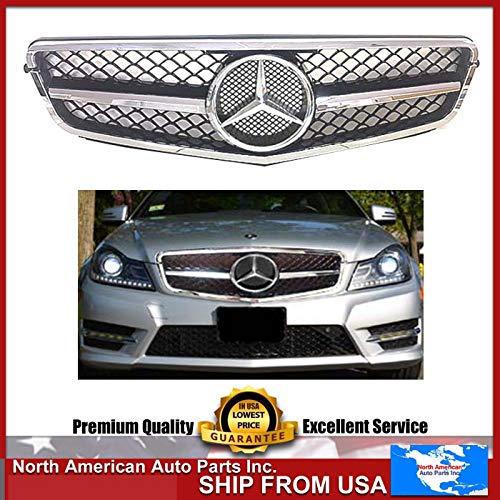 Mercedes-Benz W204 C-Class chrome-black grille 2008 209 2010 2011 2012 2013 2014 C200 C250 C300 C350 4/2 door with star emblem.