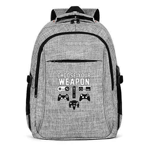UYIQWCDFPK Choose Your Weapon Console Gamer Travel Laptop Backpack for Men Women Business Backpack with USB Charging Port Design Sports Backpack