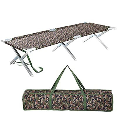 Portable Folding Camping Cot Outdoor Military Aluminum Lightweight Camp Cot for Adult for Tent Camp Hunting and House-Using Indoor with Zippered Storage Bag Easy Set Up - Test 400 lbs Weight Capacity