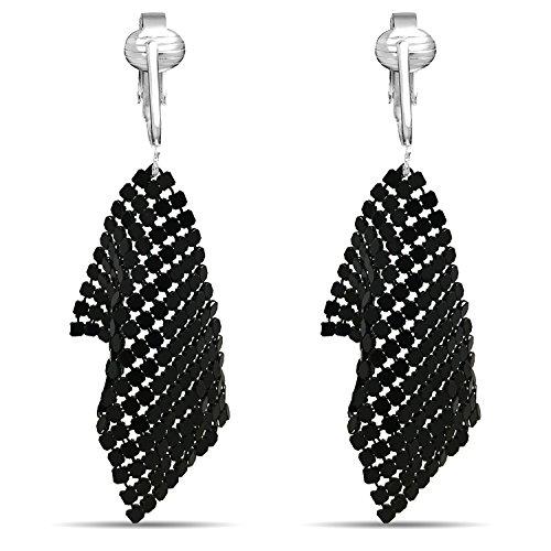 (Crystal Clip On Earrings-Sparkle Clip On Rhinestone Earrings-Clip On Dangle Earrings-Formal Earrings CZ Clip Earrings for Women, Clip On Crystal (Black Metal Chain Tassels))