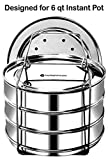EasyShopForEveryone 3 Tier Steel Pot Stackable Steamer Insert Pans in Pots Compatible with Instant Pot in Pot Accessory 6 Qt, Baking, Lasagna Pans, Cooker Pots and Pans, Cook 3 Dishes at a time
