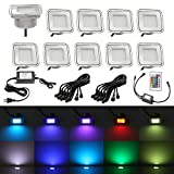 Outdoor Recessed Multi-color Lighting, QACA IP67 Waterproof Outdoor Garden Yard Decor Lamps Recessed Wood Decking Stair Landscape Pathway LED Step Lighting (10pcs, RGB)