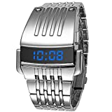 watch iron - FunkyTop Men's Fashion Stainless Steel Blue LED Digital Retro Luxury Army military Wrist Watches (Silver)