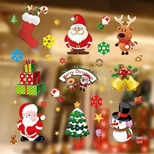 Kaishuai Decorazioni natale,Addobbi natalizi,Decorazioni per finestre,Finestra,Vetrina,Vetrofanie saldi,Vetrofanie per finestre,Decorazioni natalizie per la casa,10 Fogli Natale Decorazione