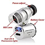 Image of Grow Room Microscope - 60x Handheld Mini Pocket LED Loupe Magnifier - Blue or White light -