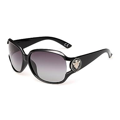 8647a6b8ff8edd VeBrellen Mode Femmes Lunettes de Soleil Polarisées Classique Protection UV  Lunettes (Black)