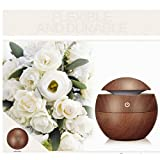MOHOO Wood Grain Aroma Diffuser Whisper Quiet Cool Mist Air Purifier Ultrasonic Humidifier With 6 Color LED Lights Changing 6 Timer Settings, Waterless Auto Shut-off - 130ml Brown 130ml