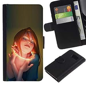 LECELL--Cuero de la tarjeta la carpeta del tirón Smartphone Slots Protección Holder For Samsung Galaxy S6 -- Glow Mujer --
