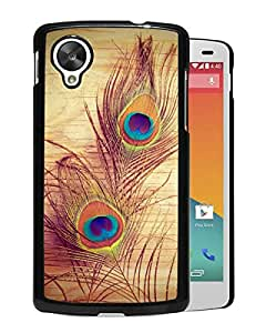 Fashionable Custom Designed Cover Case For Google Nexus 5 With Peacock feathers Black Phone Case
