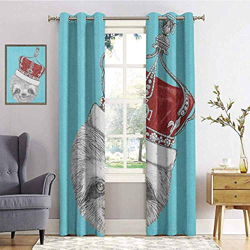 (hengshu Sloth Room Darkened Insulation Grommet Curtain Cute Hand Drawn Animal with Imperial Ancient Crown King of Laziness Theme Living Room W96 x L96 Inch Aqua Burgundy Grey)