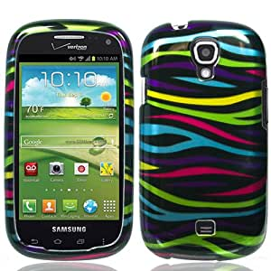 p2s88 Black with Rainbow Zebra Strips Snap on Hard Skin Shell Protector Cover Case for Samsung Galaxy Stratosphere II i415