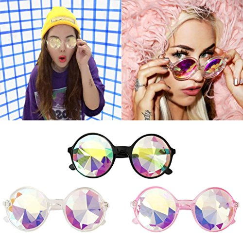 Sinwo Festivals Kaleidoscope Colorful Glasses Rave Festival Party EDM Rainbow Prism Sunglasses Diffracted Lens - Fun Gift, Party Favors, Party Toys ,Music Festivals, LED Light shows - Q Sunglasses Eye
